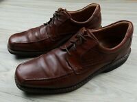 Ecco Men's Oxford Dress Shoes Size 44 Brown Leather Lace Up Square Toe Comfort
