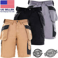 Mens Cargo Work Shorts Combat Black Grey Cotton Casual Work Trousers MultiPocket