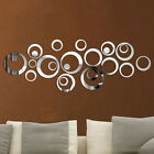 24pcs 3d Acrylic Circle Mirror Wall Stickers Diy Removable Decal Art Home Decor