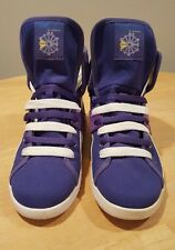 Reebok Classic Sz 8 Purple High Tops Sneakers Shoes Spell Out Fold Over Leather