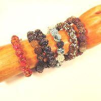 6PC Handmade Beaded Snowball Stretch Elastic Bracelets WHOLESALE LOT 6 Colors