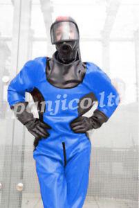 Dark Blue Astronaut Uniform Latex Gummi Rubber Bodysuit Catsuit Size:XXS-XXL