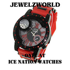 MENS ICED OUT RED/BLACK ICE NATION HIP HOP WATCH WITH SILICONE BULLET BAND