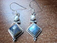 Genuine Labradorite and Cultured Pearl Earrings 925 Sterling Silver Dangle #38b