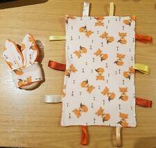 Fox Taggie Blanket & Wooden Bunny Ear Teething Ring set L@@K new baby gift