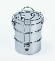 Stainless Steel Lunch Box 3 Tier Indian Tiffin Round Food Container Carrier Set