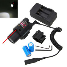 Tactical Red Laser Sight LED Flashlight Combo+Picatinny Rail Mount+16430 Battery