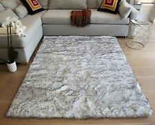 Sheepskin Sheep Hide Animal Skin Faux 5'x7' Feet Black White Mix Area Rug Carpet