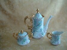Gorgeous Ombres Teapot & Creamer, Sugar Bowl Set Floral Gold Encrusted 1959