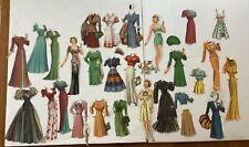 3 Claudette Colbert original cut used paper dolls 1943 Saalfield