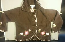 Jillian's Closet Girls 3T Cardigan Button Up Sweater Brown Flowers Pink Trim