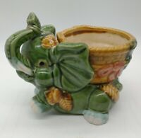 "Vintage Jade Green Ceramic Trunk Up Elephant with coin Basket Planter 5-1/2""Tall"