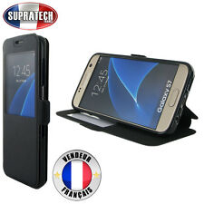 Etui Rabattable Noir Avec Ouverture Ecran pour Samsung Galaxy S7 G930