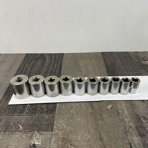 """Craftsman 1/2"""" 6pt, 12pt Lot of 10 Vintage SAE Sockets 7/16"""" to 1 1/4"""""""