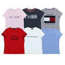 Tommy Hilfiger Para Mujer T-Shirt Tee Casual Manga Corta Logotipo Gráfico Camiseta Nuevo Nuevo Con Etiquetas