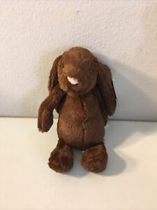 "Jellycat Small Bashful Chocolate 8"" Bunny Rabbit Beanbag Plush Doll NEW TAG NWT"
