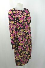Somerset Black / Purple Floral Long Sleeve Sack Silk Dress UK 12 / EU 40 / US 8