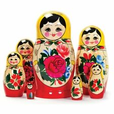 Wooden Russian Nesting Babushka Matryoshka 7 Dolls Set Hand Painted New