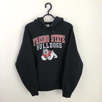 Vintage American USA College University Spell Out Hoodie Sweatshirt Black - XS/S