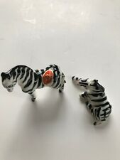 Vintage Bone China Miniature Zebra Set of 2. Japan