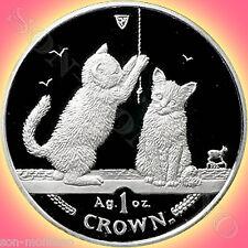 2001 Isle of Man - SOMALI KITTENS - 1 oz Silver Proof Coin + BOX/COA Somalia Cat