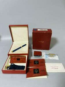 S.T.Dupont Blue lacquer Fountain Pen 18K 750 With Box