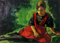 PORTRAIT OF  WOMAN. SPLASH OIL ON CANVAS. SIGNED ANNRAUD (?). EUROPE. CIRCA 1950
