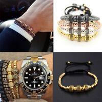 24kt Men Luxury Pave Black CZ Round Mircro CZ Paved Braided Adjustable Bracelets