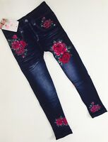 Girls Pink Winter Floral Denim Jeans Look Leggings Age 4-14 Kids child's Blue