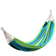 Kingcamp – Hamac de jardin CANEVAS– 200*100cm - Charge Max.120 kg - Vert/Bleu