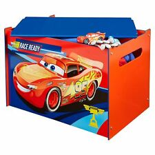 DISNEY CARS TOY BOX STURDY MDF KIDS BOYS STORAGE BEDROOM PLAYROOM