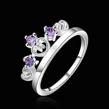 925 Sterling Silver Purple Zirconia Crown Ring Size 8 B22