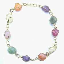 MULTICOLOURED STONE GOLD COLOURED BRACELET CHAIN BANGLE