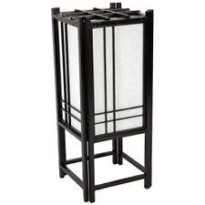 Japanese Tatami Shoji Lamp Double-Cross Design Black Wood Frame