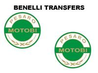 Benelli Motobi Tank Transfers and Decals Sold as a Pair White Gold Green