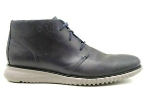 Cole Haan Zero Grand Navy Blue Leather Lace Up Chukka Ankle Boots Men's 11.5 M