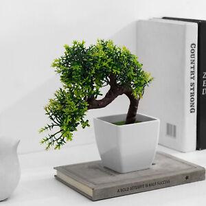 MyGift Artificial Japanese Green Blossom Bonsai Cedar Tree with White Planter