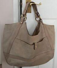 Fab large J&M DAVIDSON cool beige summer suede leather shoulder bag