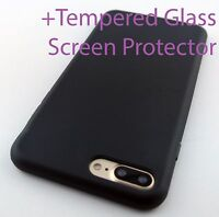 FULL BLACK TPU SKIN CASE COVER FOR APPLE IPHONE 7 PLUS & 8 PLUS
