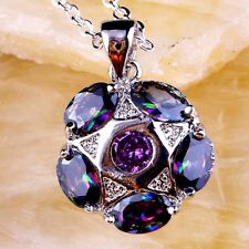 Amethyst & Mystic Rainbow Topaz Pendant Necklace Chain 925 Sterling Silver