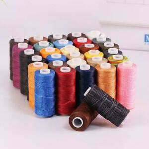 1pcs Waxed Thread 0.8mm/284Yard Flat Polyester Cord F/ Stitching Leather Y2U5