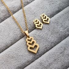 Fashion Stainless Steel Jewelry Sets Heart Cross Pendant Chain Necklace Earrings