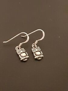 925 Sterling Silver Little Owl Dangly Earrings 1.79g