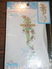 New ListingJanlynn Stamped Cross Stitch Pillow Cases - Rose Cross - Set of 2
