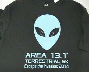 A4 Half Marathon Running T-Shirt Area 13.1 Terrestrial 5K Mens Black Med Alien