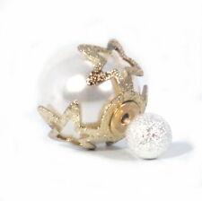 1 Paar Tribal Ohrringe Stecker Perle Weiss Gold Glitzerkugel