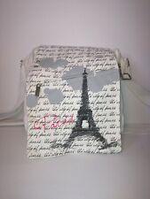 Robin Ruth white Paris canvas crossbody handbag with flap closure
