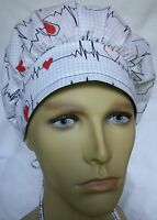 ECG EKG SURGICAL SCRUB HAT THEATRE CAP HEARTBEAT QRS COMPLEX anatomy BOUFFANT