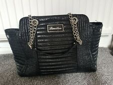 Benetton Black Patent Black Quilted Bag.large. Top Chain Handles.