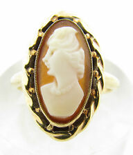 Antique 10k Solid Yellow Gold Carved Cameo Shell Ring Size 7